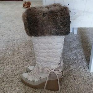 Coach Sofie Rabbit Fur Wedge Boots